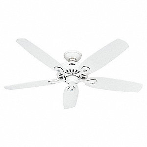 "5-Blade Decorative Ceiling Fan, 120, 3-Speed, 52"" Blade Dia., 155/97/54 RPM"