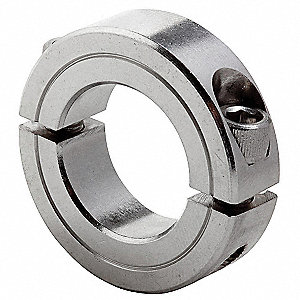 "Stainless Steel Shaft Collar, Clamp Collar Style, Standard Dimension Type, 1-1/4"" Bore Dia."