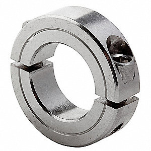 "Stainless Steel Shaft Collar, Clamp Collar Style, Standard Dimension Type, 3-7/16"" Bore Dia."