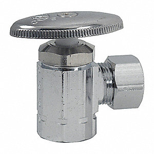 Chrome Plated Multi-Turn Supply Stop, NPT Inlet Type, 125 psi