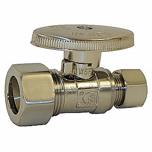 Brushed Nickel Quarter-Turn Supply Stop, Compression Inlet Type, 125 psi