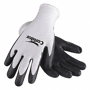 Polyurethane Cut Resistant Gloves, ANSI/ISEA Cut Level 2, HPPE Lining, Black, White, 2XL, PR 1