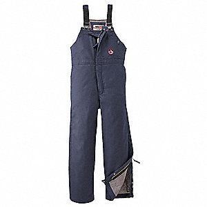"Navy Flame-Resistant Bib Overall, 88% Cotton/12% Nylon, Fits Waist Size: 38"" to 40"", 30"" Inseam, 37."