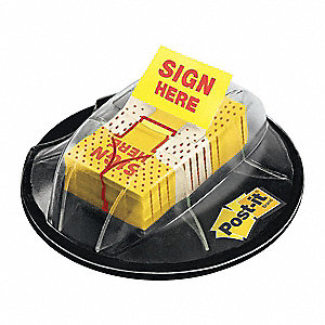 Sticky Flags,Sign Here,1x1-3/4 In,Yellow