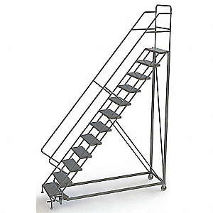 "12-Step Configurable Rolling Ladder, Perforated Step Tread, 156"" Overall Height, 450 lb. Load Capaci"