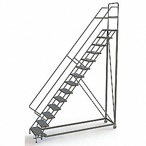 "14-Step Configurable Rolling Ladder, Perforated Step Tread, 176"" Overall Height, 450 lb. Load Capaci"