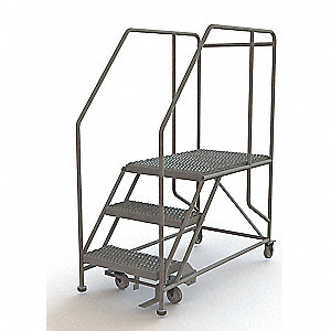 "Forward Descent Rolling Work Platform, Steel, Single Access Platform Style, 30"" Platform Height"