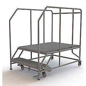 Rolling Work Platform,Steel,2 Steps