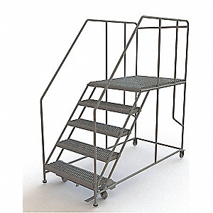 "Forward Descent Rolling Work Platform, Steel, Single Access Platform Style, 50"" Platform Height"