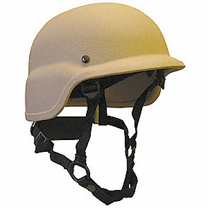 Tan Level IIIA Lightweight Helmet, Shell Material: Aramid, Fits Hat Size: Large