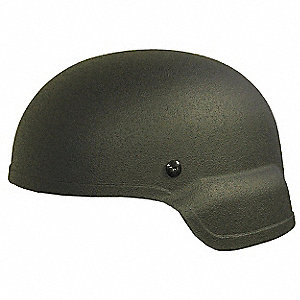 "OD Green Level IIIA Mid Cut Helmet, Shell Material: Aramid, Pad Thickness: 3/4"", Fits Hat Size: Larg"