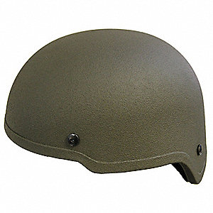 OD Green Level IIIA Low Profile Helmet, Shell Material: Aramid, Fits Hat Size: Small