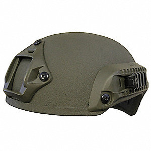 "OD Green Level IIIA Combat Helmet, Shell Material: Aramid, Pad Thickness: 1/2"", Fits Hat Size: Small"