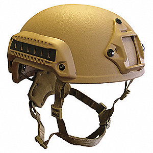 "Tan Level IIIA Combat Helmet, Shell Material: Aramid, Pad Thickness: 1/2"", Fits Hat Size: S"
