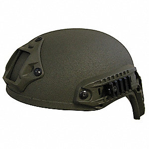 "OD Green Level IIIA Special Ops Helmet, Shell Material: Aramid, Pad Thickness: 1/4"", Fits Hat Size:"