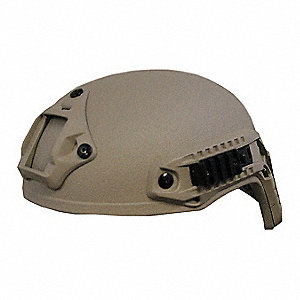 "Tan Level IIIA Special Ops Helmet, Shell Material: Aramid, Pad Thickness: 1/4"", Fits Hat Size: X-Lar"