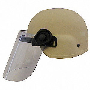 Tan Level IIIA Lightweight Helmet w/ Paulson Face Shield, Shell Material: Aramid, Fits Hat Size: Sma