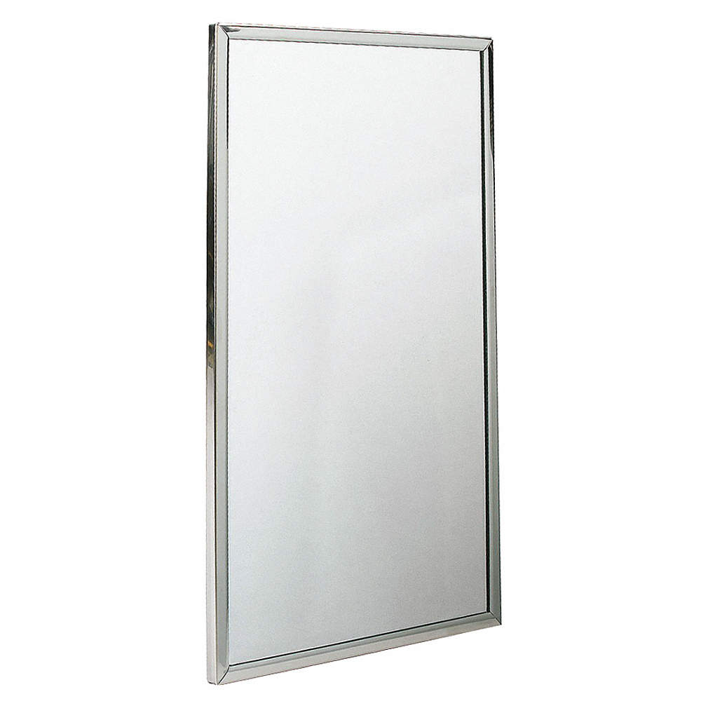 BRADLEY Wall Mount Steel and Glass Channel Frame Mirror, Stainless ...