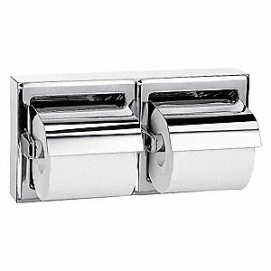 Double Post Toilet Paper Holder, Bright Silver