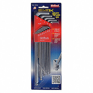 Long L-Shaped SAE Bright Ball End Hex Key Set, Number of Pieces: 13