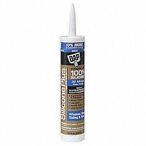 White Window and Door Sealant, Silicone, 10.8 oz. Cartridge