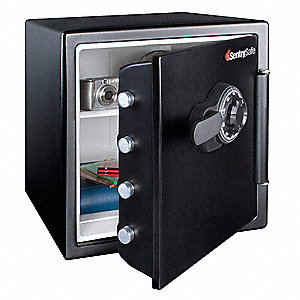 "16-1/3"" x 19-1/3"" x 17-4/5"" Fire Safe, Black; Holds Records, CD's, DVD's, USB Drives, Memory Sticks,"