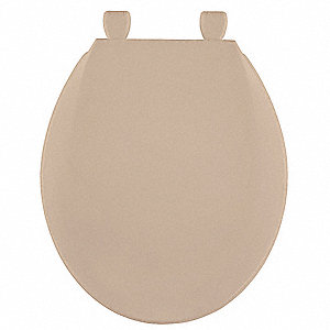 "Toilet Seat, Round, With Cover, 16-7/8"" Bolt to Seat Front"