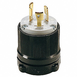 20A Industrial Grade Non-Shrouded Locking Plug, Black/Gray&#x3b; NEMA Configuration: L6-20P