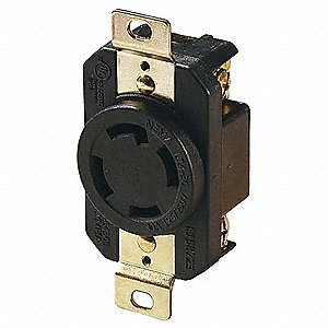 Locking Receptacle,125/250VAC,Black