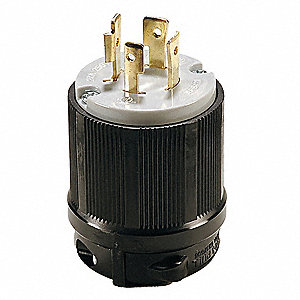 20A Industrial Grade Non-Shrouded Locking Plug, Black/Gray; NEMA Configuration: L15-20P