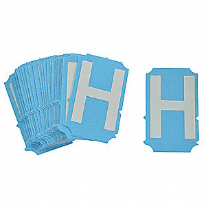 "Letter Label, H, Glow In The Dark White, 4"" Character Height, 25 PK"