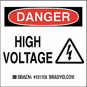 "Danger Sign,3"" Hx3in.W,Sticking Poly"