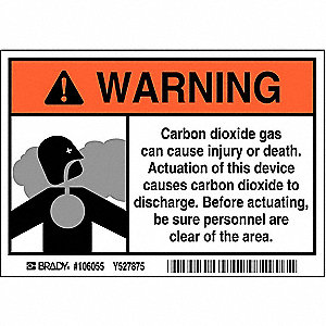 "Chemical, Gas or Hazardous Materials, Warning, Polyester, 3-1/2"" x 5"", Adhesive Surface"