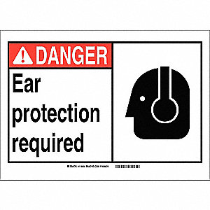"Personal Protection, Danger, Vinyl, 10"" x 7"", Adhesive Surface, Not Retroreflective"