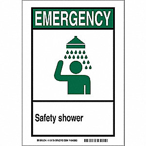 "Eyewash and Shower, Emergency, Polyester, 5"" x 7"", Adhesive Surface, Not Retroreflective"