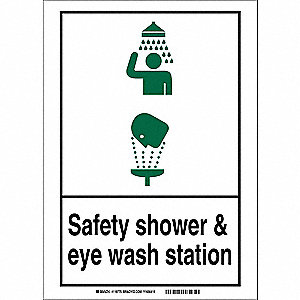 "Eyewash and Shower, No Header, Plastic, 10"" x 14"", With Mounting Holes, Not Retroreflective"