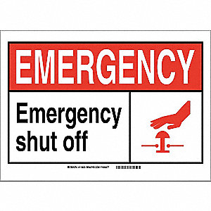 "Facility, Emergency, Vinyl, 7"" x 10"", Adhesive Surface, Not Retroreflective"