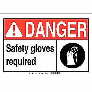 "Personal Protection, Danger, Polyester, 10"" x 14"", Adhesive Surface, Not Retroreflective"