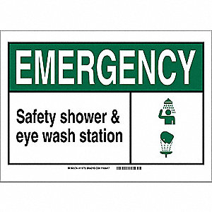 "Eyewash and Shower, Emergency, Vinyl, 10"" x 14"", Adhesive Surface, Not Retroreflective"