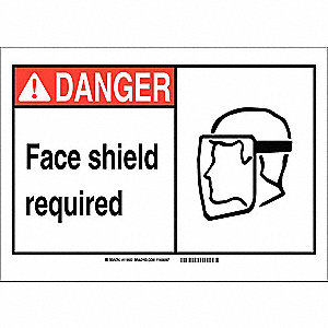 "Personal Protection, Danger, Aluminum, 10"" x 14"", With Mounting Holes, Not Retroreflective"