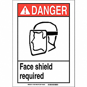 "Personal Protection, Danger, Vinyl, 7"" x 10"", Adhesive Surface, Not Retroreflective"