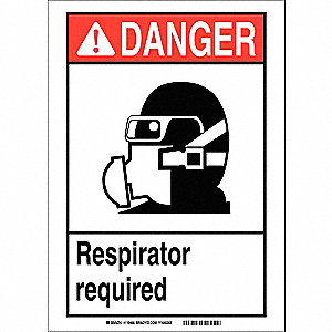 Danger Sign,10in.Hx7in.W,Sticking Poly