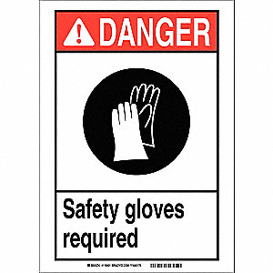 "Personal Protection, Danger, Plastic, 5"" x 7"", With Mounting Holes, Not Retroreflective"