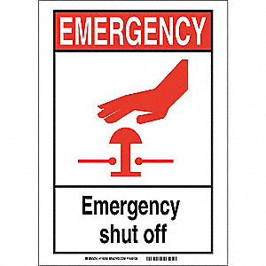 "Facility, Emergency, Vinyl, 10"" x 14"", Adhesive Surface, Not Retroreflective"