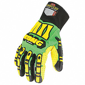 PVC Cut Resistant Gloves, ANSI/ISEA Cut Level 4 Lining, Green, Yellow, XL, PR 1