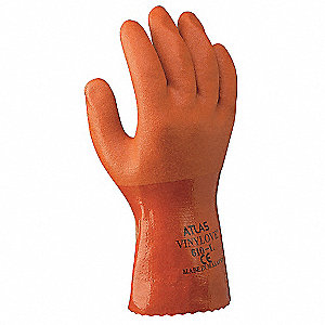 Chemical Resistant Gloves, Knitted Lining, Orange, PR 1