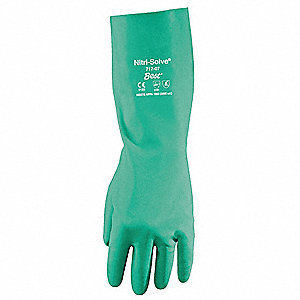 Chemical Resistant Gloves, Unlined Lining, Green, PR 1