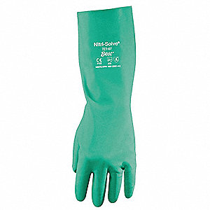 Chemical Resistant Gloves,Nitrile,2XL,PR