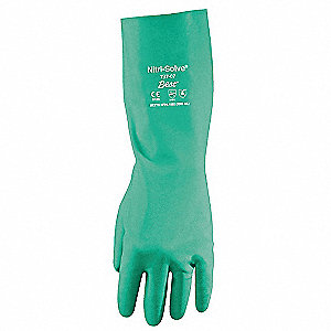Nitrile Chemical Resistant Gloves, 22 mil Thickness, Unlined Lining, Size S, Green, PR 1