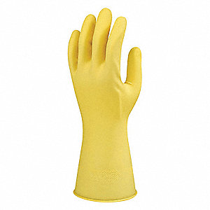 8.50 mil Natural Rubber Latex Gloves, Flock Lining, Yellow, Size 6-1/2